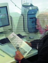 Alfons um die Jahrtausendwende im Büro von Sohn Thomas